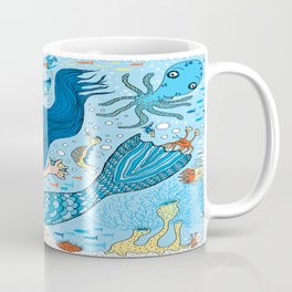 Quirky Mermaid with Sea Friends, Blue version Coffee Mug