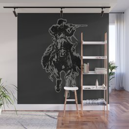 Rustic cowboy with rifle riding horse classic sketch Wall Mural