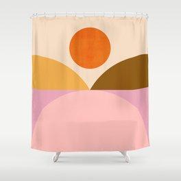 Abstraction_SUNSET_Mountains_ART_Minimalism_001 Shower Curtain