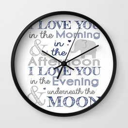 Elephant nursery print Wall Clock