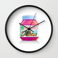 nutella Wall Clocks featuring Nutella by Tebon