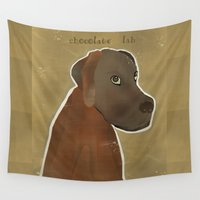 chocolate Wall Tapestries featuring chocolate lab by bri.buckley