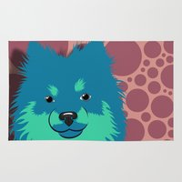 pomeranian Area & Throw Rugs featuring Olie the Pomeranian in Blue by JENNY RED