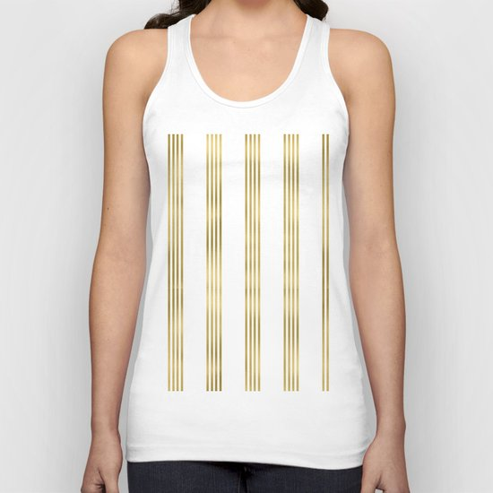Gold small stripes on clear white - vertical pattern Unisex Tank Top