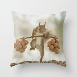 Squirrel the nut carrier Throw Pillow