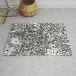 Vintage Map of Rome Italy (1721) BW Rug