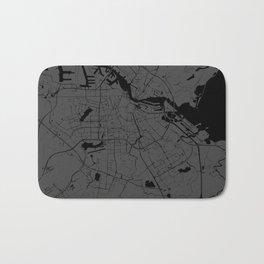 Amsterdam Gray on Black Street Map Bath Mat