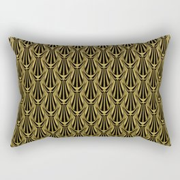 Overlapping Shell Pattern in Gold Rectangular Pillow