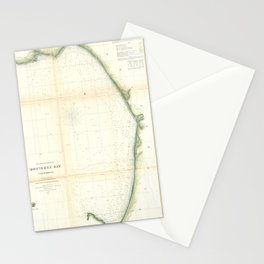 Vintage Map of Monterey Bay California (1857) Stationery Cards