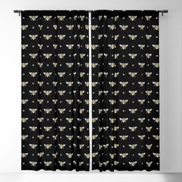 Bumblebee Stamp on Black Blackout Curtain