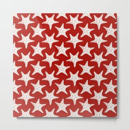 Maritime Red & White Starfish Pattern - Mix & Match with Simplicity of Life Metal Print