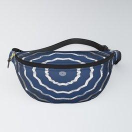 Blue stripes on white grunge textured kaleidoscope Fanny Pack