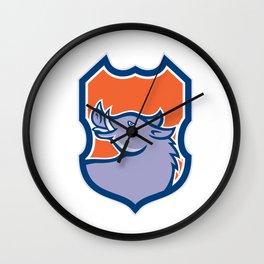 Razorback Head Looking Up Shield Retro Wall Clock