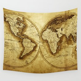 Antique Map of the World Wall Tapestry