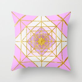 Gold Plated Preppy Pink Mandala Throw Pillow