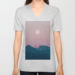 Moon and the Mountains – Landscape Photography Unisex V-Neck