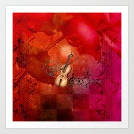 Music, violin with violin bow Art Print