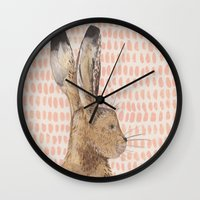 hare Wall Clocks featuring Hare by stephanie cole DESIGN
