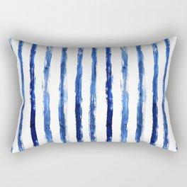 Blue painted stripes Rectangular Pillow