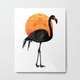 Black Flamingo  - Tropical Wall Decor - Flamingo Posters - Exotic Birds - Black, Modern, Minimal Metal Print