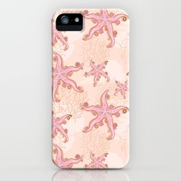 Starfish and Coral Pink Pastel Pattern iPhone Case
