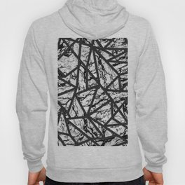 Geometric Black and White Marble Triangles Pattern Hoody