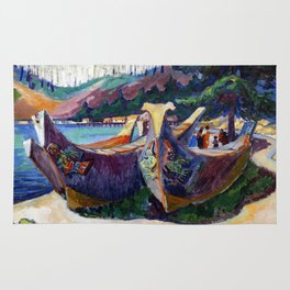 Emily Carr First Nations War Canoes in Alert Bay Rug