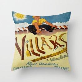 Vintage Villars Switzerland Winter Sports Travel Poster Throw Pillow