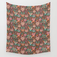 bunnies Wall Tapestries featuring Bunnies by Olya Yang