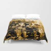chicago bulls Duvet Covers featuring Chicago by DM Davis