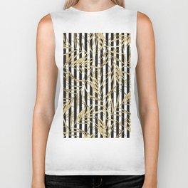 Elegant black white stripes faux gold tropical leaves Biker Tank