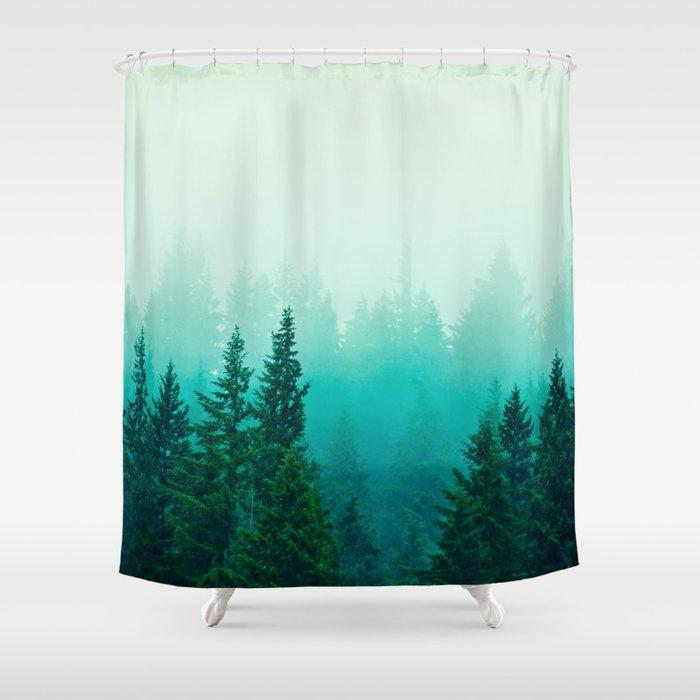 Fog Foggy Samish Forest Woods Mountain Northwest Washington Landscape Shower Curtain