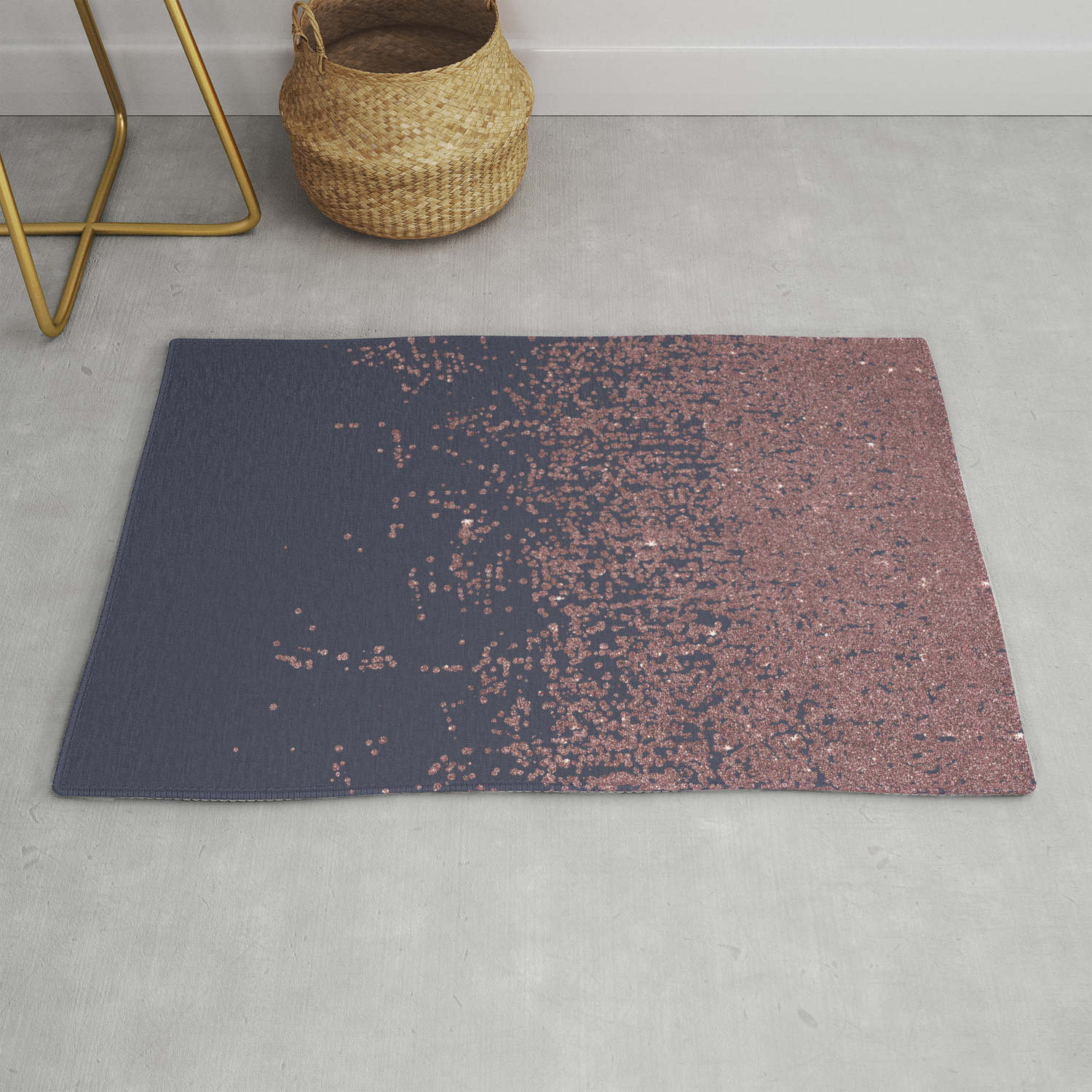 Picture of: Glamorous Rose Gold Navy Blue Glitter Ombre Rug By Blackstrawberry Society6
