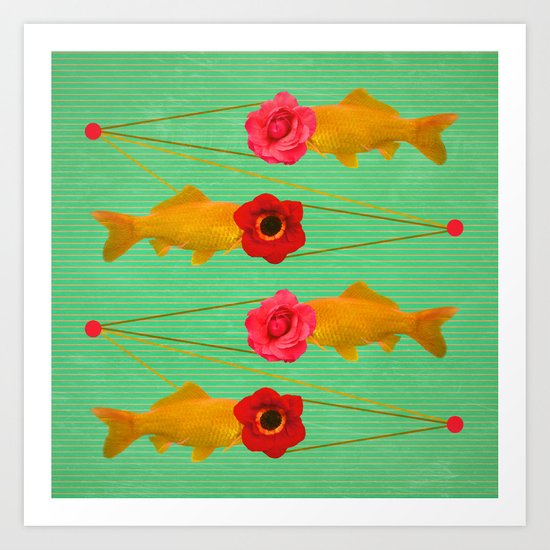fishes and flowers Art Print