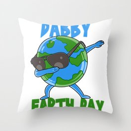 Dabby Earth Day Cute Happy Earth Day design Throw Pillow