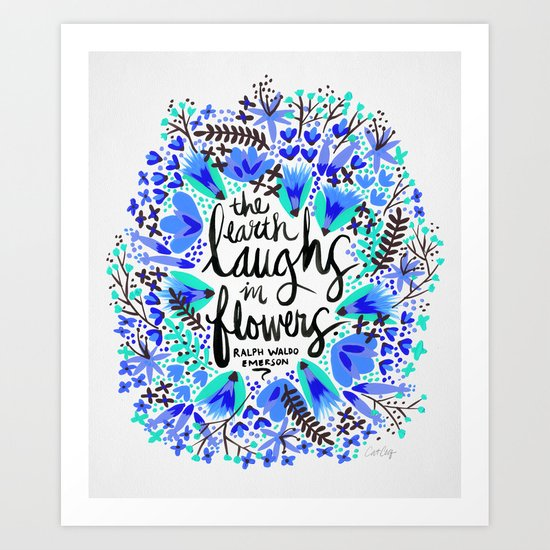 The Earth Laughs in Flowers – Turquoise & Blue Art Print