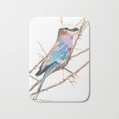Lilac breasted roller Bath Mat