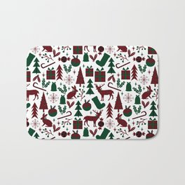 Plaid antler deer stocking christmas pudding christmas trees candy canes Bath Mat