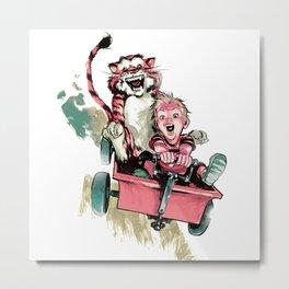 Calvin And Hobbes Fast Metal Print