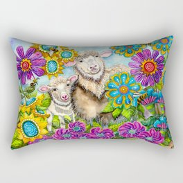 Sheep in the Summer Garden Rectangular Pillow