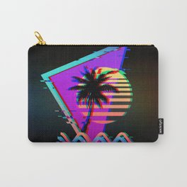 Retro Vaporwave Palm Tree Sunset with Synthwave Glitch Aesthetic Carry-All Pouch
