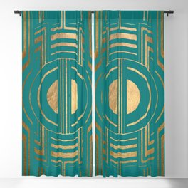 Art Deco Unfinished Love In Turquoise Blackout Curtain