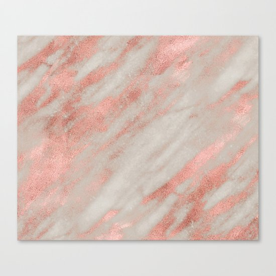 Smooth rose gold on gray marble Canvas Print
