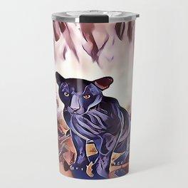 Black Panther Fire Cat Travel Mug