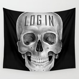 Skull Log in B&W Wall Tapestry