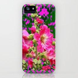 Decorative Fuchsia & Green Hollyhocks Garden Pattern Art iPhone Case