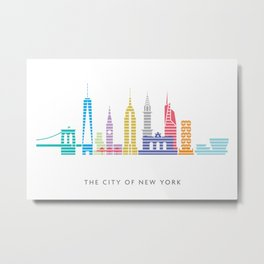 New York Skyline White Metal Print