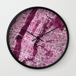 Black Rose Print Showing Manhattan NYC in Peony Floral Styling Wall Clock