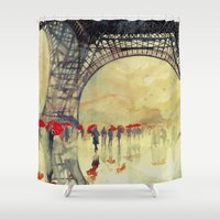 paris Shower Curtains featuring Winter in Paris by takmaj