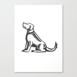 Welsh Terrier Sitting Woodcut  Canvas Print